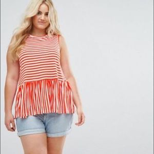 ASOS Curve Sleeveless Top Ruffle Hem Orange sz20
